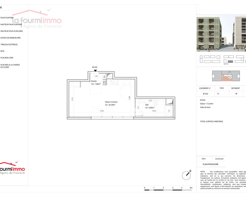 Appartement T1 Bordeaux  - Plan t1 210000