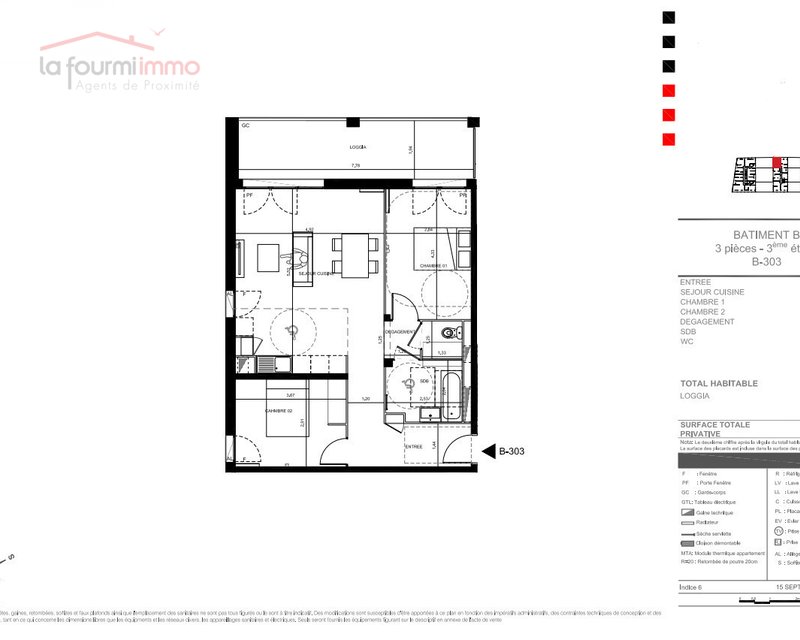 Appartement T3 Bordeaux - Plan t3 329 000