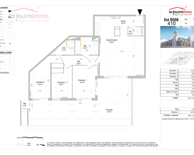 Appartement T4 Bordeaux - Plan t4 530 000 -01