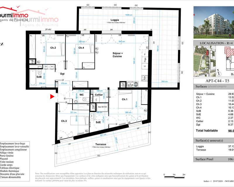 Appartement T5 Bordeaux  - Plan t5 487000