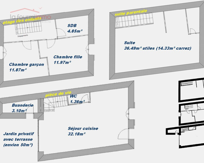 Maison de village en triplex, Vaugneray secteur Maison Blanche - Plans